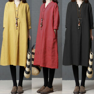 ZANZEA-Womens-Spring-V-Neck-Long-Sleeve-Buttons-Baggy-Tunic-Shirt-Midi-Dress