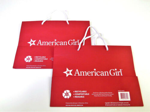 """NEW Lot American Girl Doll Rope HANDLED RED GIFT BAG Recyclable BAGS 12/""""x9x4 2"""
