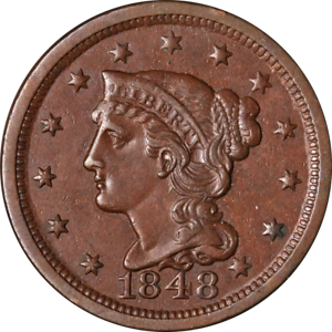1848 Large Cent Choice AU Superb Eye Appeal Nice Strike
