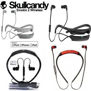 Skullcandy-SMOKIN-BUDS-2-Wireless-Bluetooth-Earphones-with-Mic-red-white-New