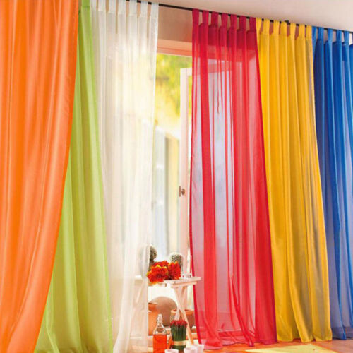 200 X 100cm Rainbow Sheers Curtain Voile Tulle Window Curtain Valance 10 Colors