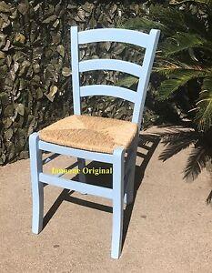 Sedute Per Sedie Di Legno.6 Sedie Sedia Colorate In Legno Seduta Paglia Colore Azzurro E