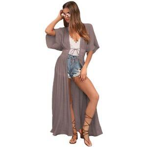 Taupe-KIMONO-Long-DUSTER-Coat-ROBE-Kaftan-RESORT-Swimwear-COVER-UP-Crepe-JACKET