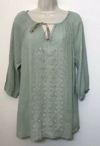NWT A Pea In The Pod Maternity Small Tunic Top Light Green 3/4 Sleeve Beaded $88