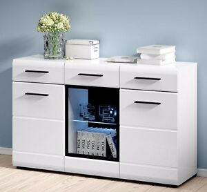 Image Is Loading White Gloss Sideboard Led Display Cabinet Dresser Buffet