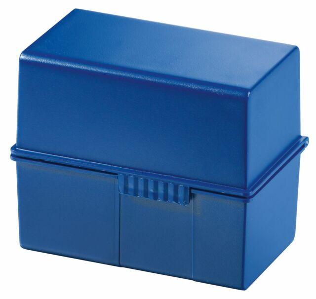 HAN 977-14 Karteibox DIN A7 quer, für 300 Karten mit Stahlscharnier, blau