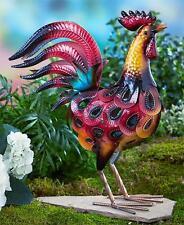 NEW Colorful Metallic ROOSTER Sculpture Statue Outdoor Garden Yard Art