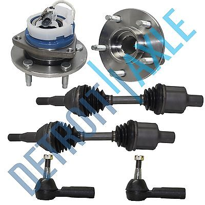 2 Front CV Drive Axle Shaft + 2 Wheel Hub Bearing Assembly + 2 Outer Tie Rods