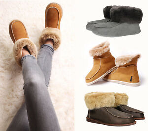 Handcrafted-Mens-Womens-Ladies-Sheepskin-Moccasin-Boot-Slippers-just-Natural-Fur