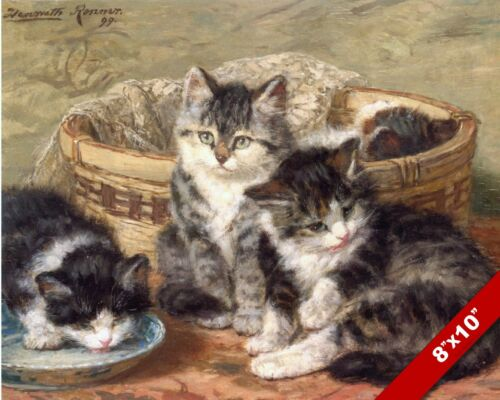 CUTE LITTLE CATS KITTENS IN A BASKET PET ANIMAL ART PAINTING REAL CANVAS PRINT