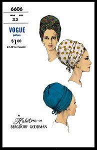 VOGUE #7153 HAT BUCKET Designer HALSTON Fabric Sewing Pattern Chemo Alopecia 1sz