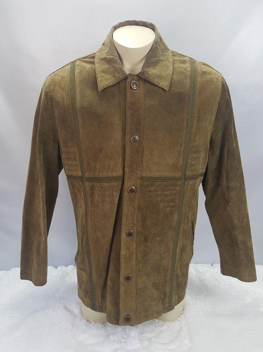 Leonardi Collezioni Genuine Suede Leather Car Coat Men Größe M Lined braun