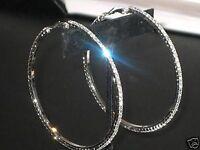 NEW (6140 u) ladies diamante 7cm hoops silver earrings