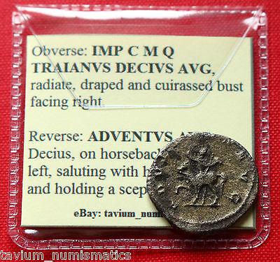 Trajan Decius Silver Antoninianus ADVENTVS AVG 249 AD Rome Roman Empire Coin