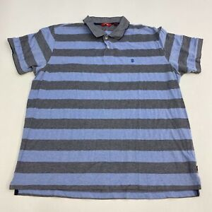 Izod Polo Shirt Men's Size 2XL XXL Short Sleeve Blue Gray Striped Casual Golf