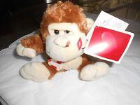 Wal-mart Walmart Plush Brown Cream Monkey 6 Heart Lips Ape