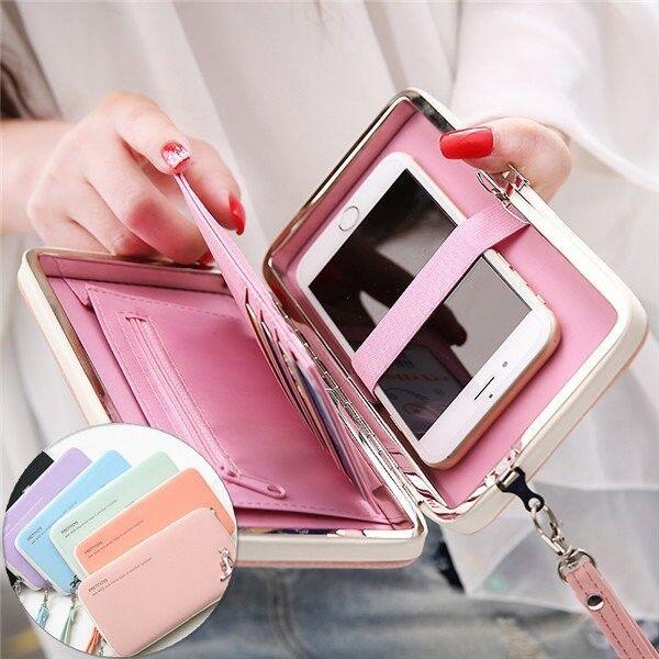 Premium Flip PU Leather Heels Wallet Case Cover Pouch Purse Phone Bag Handbag