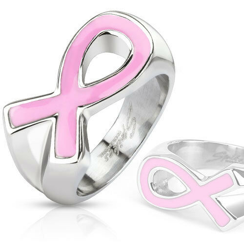 Pink Ribbon Breast Cancer Awareness Enamel Filled Cast Band Ring Stainless Steel
