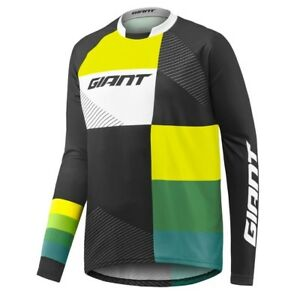 c9661444a Details about Giant Clutch LS Long Sleeve MTB Cycling Jersey - Black Yellow  Green - M