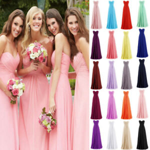 Women-Bridesmaid-Strapless-Long-Dress-Cocktail-Wedding-Evening-Party-Formal-Gown