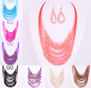 Charm-Necklace-Earrings-Set-Multilayer-Collar-Chain-Jewelry-Beaded-30-Layers