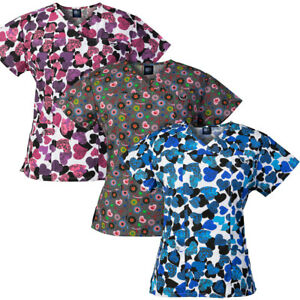 1c7abec10cc Medgear 3-PACK Womens Printed Medical Scrub Tops with 4 Pockets & ID ...