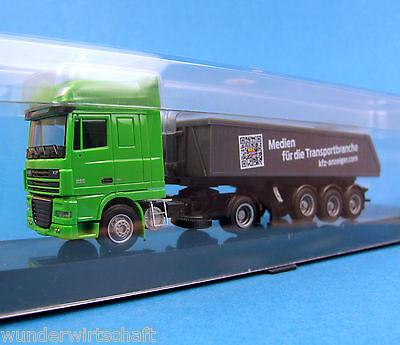 AMW H0 DAF XF Kipper-Sattelzug KFZ-Anzeiger LKW Grün truck OVP HO 1:87 AWM Box