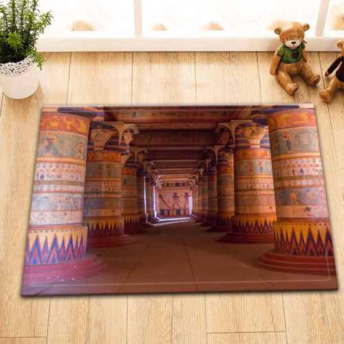 Egyptian Temple Columns Fabric Shower Curtain Set Polyester Sheer Bath Mat Rug