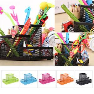 Metal-Mesh-Office-Pen-Pencils-Holder-Desk-Stationery-Storage-Organizer-Box