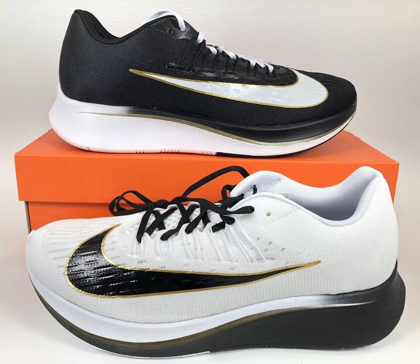 Nike Zoom Fly Mismatch White Black-Metallic gold Vaporfly RARE SOLD OUT SZ 10.5