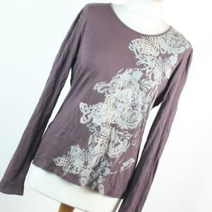 Next-Womens-Size-16-Brown-Floral-Cotton-Basic-Tee