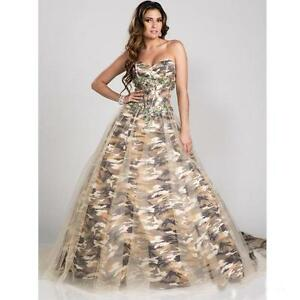 1198bfa5baa78 Image is loading New-Camo-Evening-Dresses-Ball-Gown-Camouflage-Appliques-