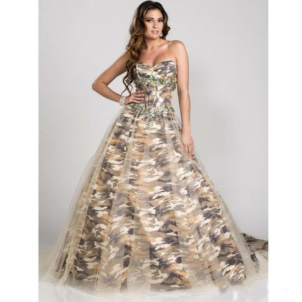Camo Evening Dresses Ball Gown Camouflage Appliques Party Prom ...