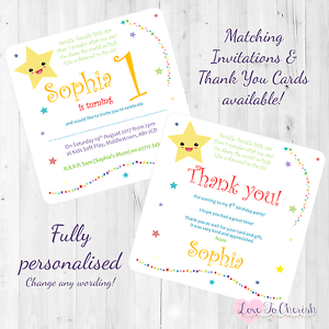 Twinkle Little Star Personalised INVITES THANK YOU Birthday Party