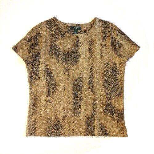 Lauren Ralph Lauren Animal-Print Cotton T-Shirt Brown Multi XL. Pre-owned.