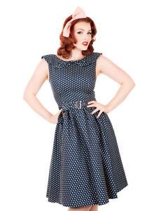 db4fd3379796 Womens Blue Polka Dot Vintage Swing Dress UK Sizes 10/12/14/16/18/20 ...