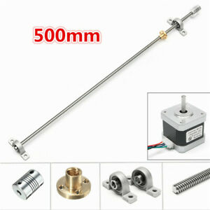 500mm-T8-Lead-Screw-Rod-with-Stepper-Motor-and-Mounted-Ball-Bearing-Set