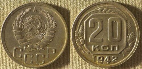 Russia Early Soviet 1942 20 Kopeks AU Y111Stock Picture IR9277