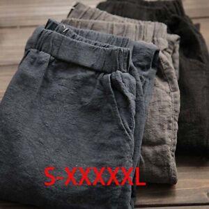 Women-Cotton-Pants-Loose-Casual-Harem-Pants-Plus-Size-Vintage-Linen-Trousers-TI