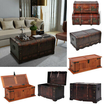 Retro Wooden Treasure Chest Vintage Storage Box Trunk Coffee Table Lockable Uk Ebay