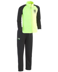NWT$40 Under Armour Small Boy On The Mark Track Jacket Pants Set Volt Black Sz 4
