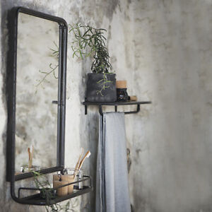 Industrial Style Black Mirror With Shelf Bathroom Mirror With