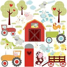 BARNYARD 42 Wall Stickers Room Decor Farm Animals Tractor Western Barn Decals