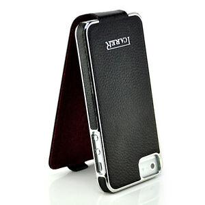 Leder-Flip-Tasche-fuer-Apple-iPhone-5-5S-Case-Handy-Huelle-Schale-Etui-Cover-Black