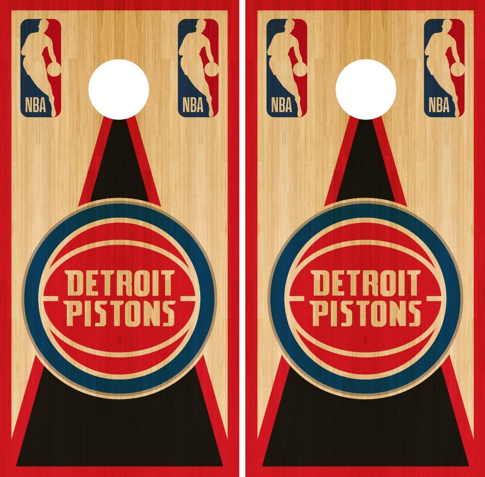 Detroit Pistons Cornhole Wrap NBA Vintage Game Board Skin Set Vinyl Decal CO599