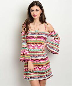 USA-Joyce-Boho-Cowgirl-Aztec-Western-Bell-Sleeve-Cold-Shoulder-Tunic-Dress-S-M