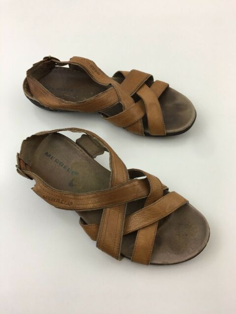 c8ee5d09c4c0 Merrell Bassoon Tan Open Toe Sandals Womens Sz 9 Brown Leather Strap Shoes