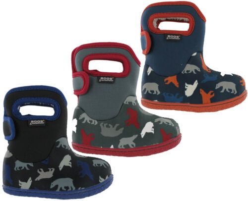 Bogs Polar Bear Wellingtons Neoprene Waterproof Fur Lined Baby 10 Boys Boots