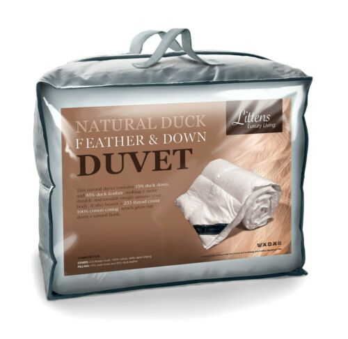 Hotel Quality Duck Feather and Down Duvet Quilt, 230TC Cotton Casing, 15% Down