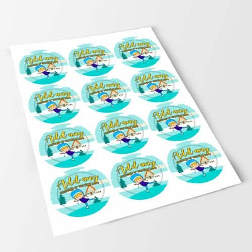 Ice Skating Sticker Labels for Party Bag Sweet Cones
